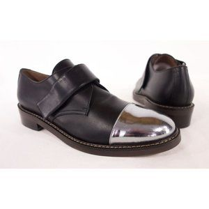 MARNI New 40 10 Black & Silver Leather Cap Loafers